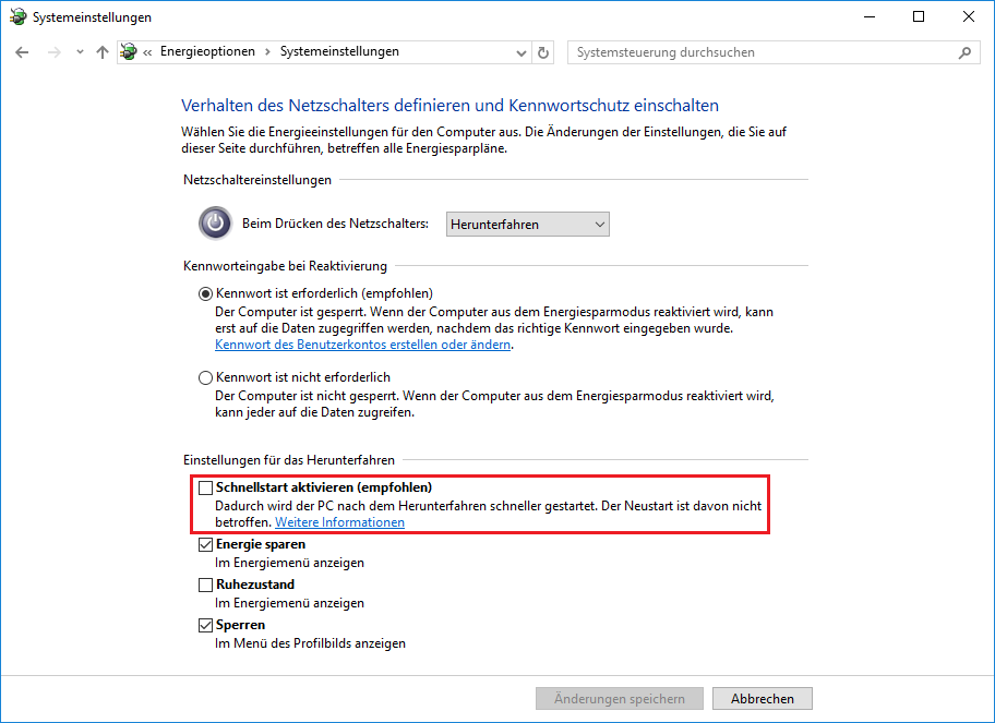 Windows Schnellstart deaktivieren