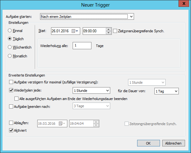 Windows Defender Update Task Trigger