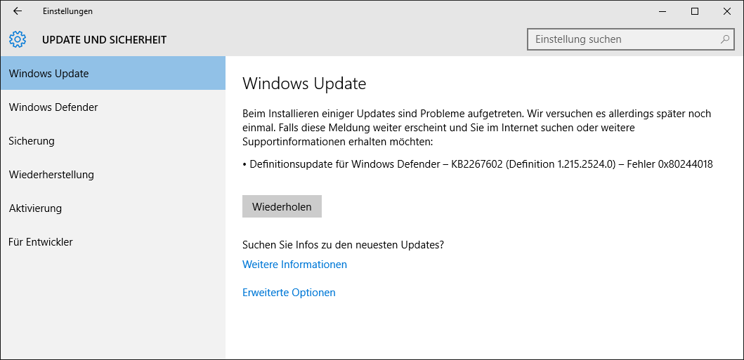 Windows Update Fehler 0x80244018