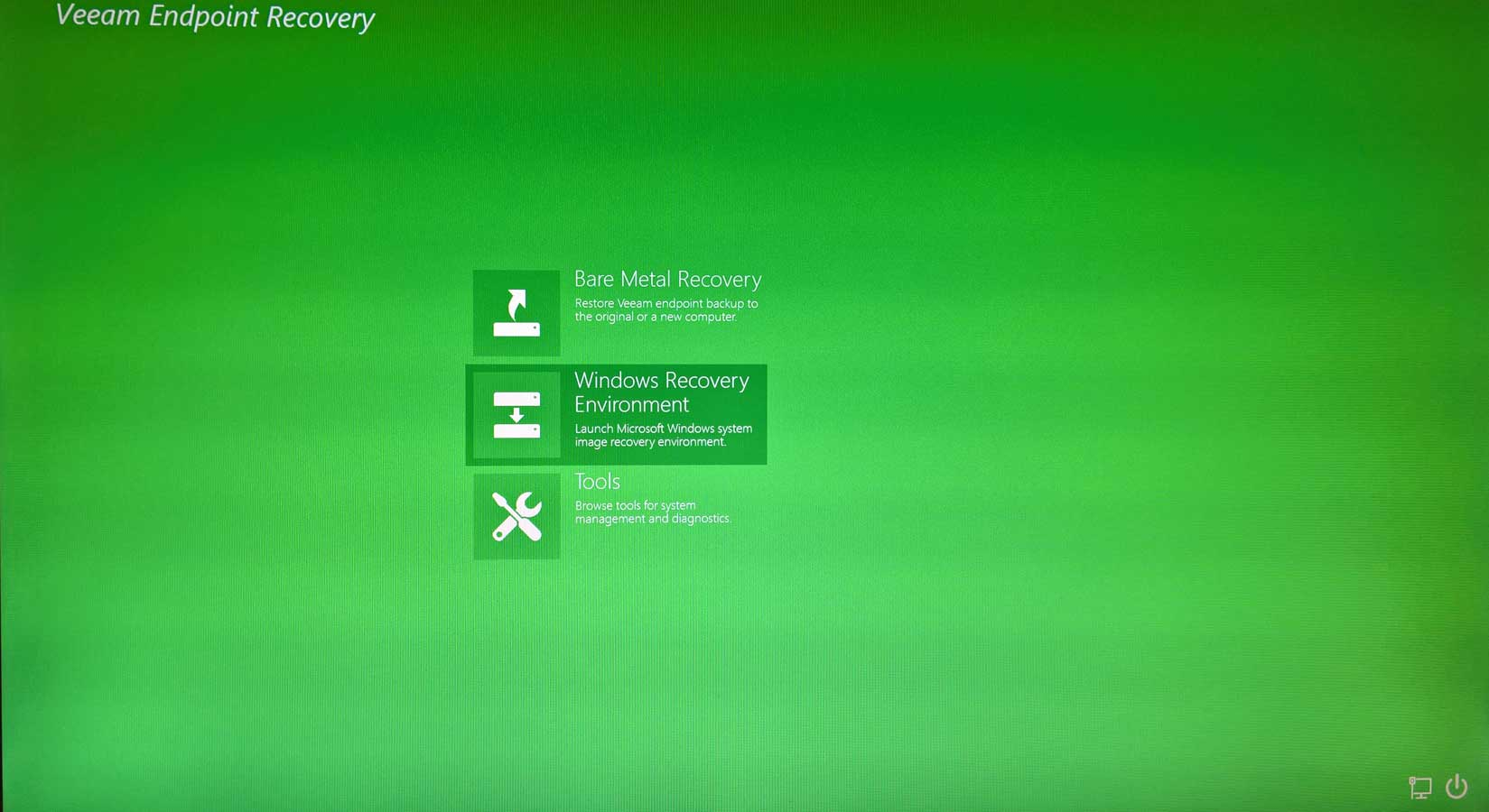 Veeam Recovery Begrüßungsbildschirm
