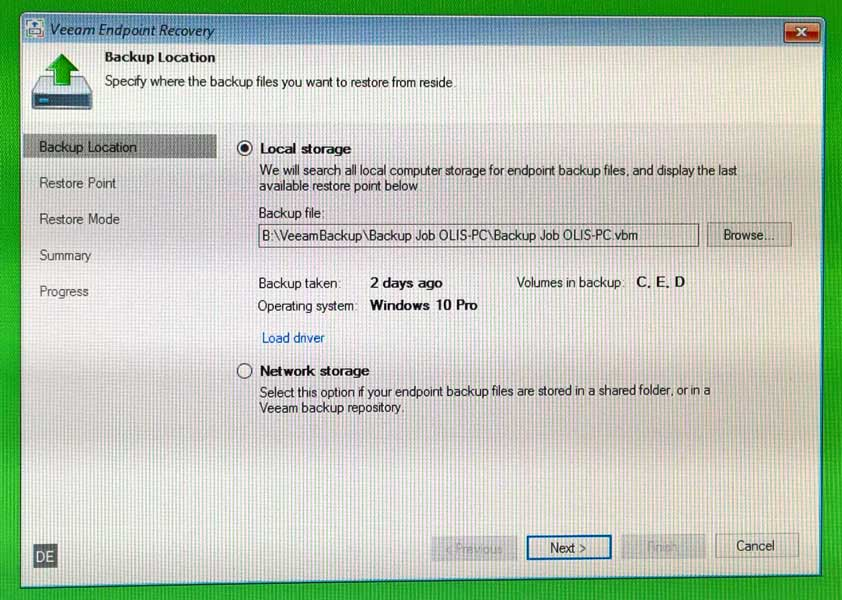 Veeam Recovery Backupauswahl