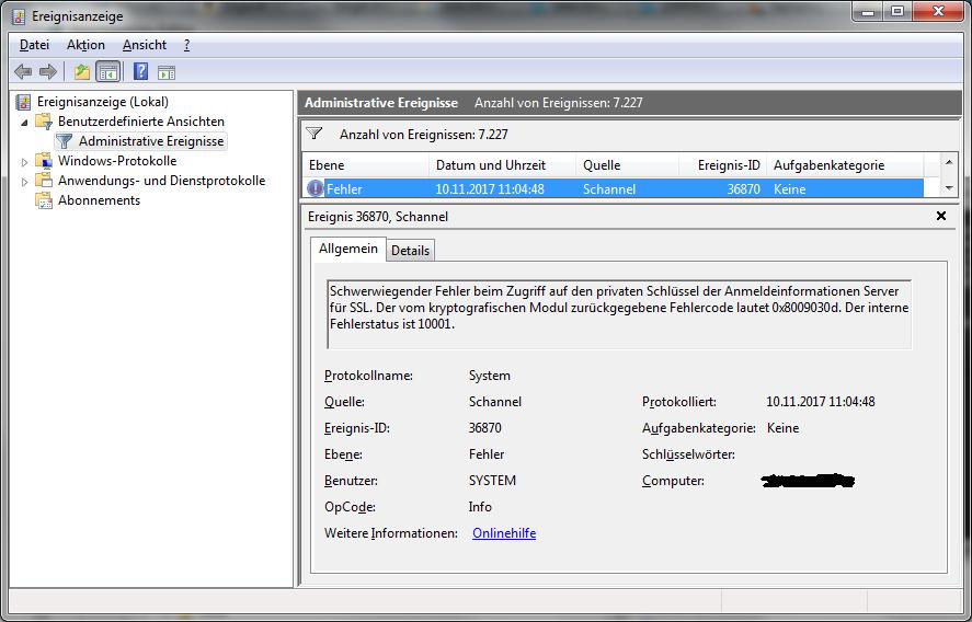 Schannel Event ID 36870, Fehlercode 0x08009030d, interner Fehlerstatus 10001