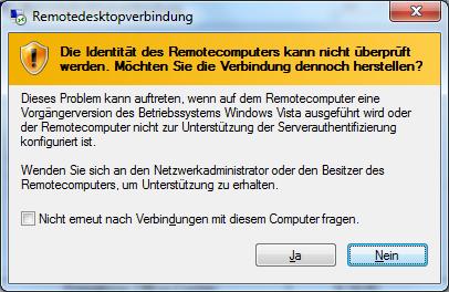 Die Identität des Remotecomputers kann nicht überprüft werden.